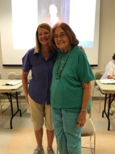 Marillyn Brame was awarded a gold badge by Jeanne Campbell, in recognition of more than 20 years of community service.
